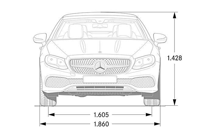 mercedes E cabrio 2017 cotas frontal