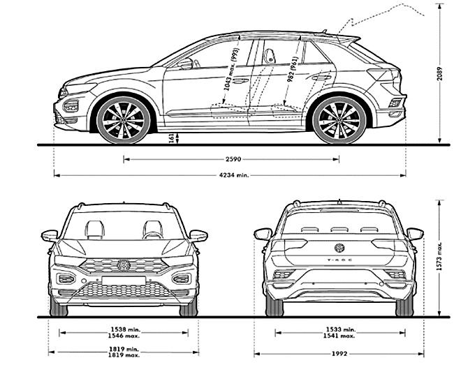 VW T-Roc 2017 cotas