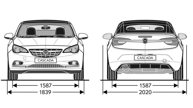 Opel Cabrio 2013 cotas frontal