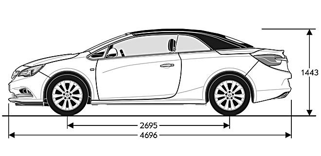 Opel Cabrio 2013 cotas lateral