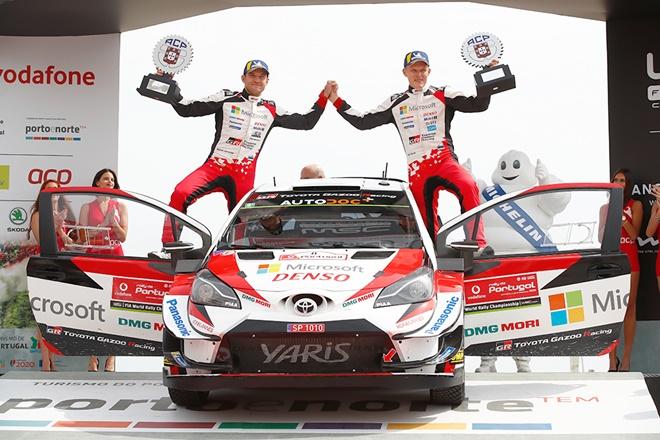 tanak rallye portugal podio toyota yaris wrc